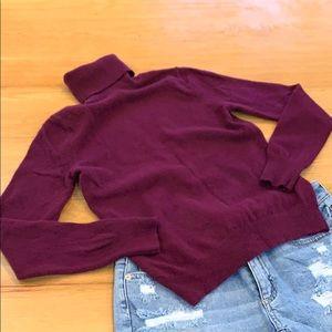 UNIQLO Maroon Turtleneck Sweater Cashmere S XS 0-2